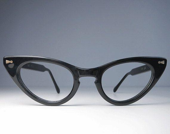 Vintage Eyeglass Frames New Old Stock : Vintage 1960s Cat Eye Eyeglasses / New Old Stock Black ...