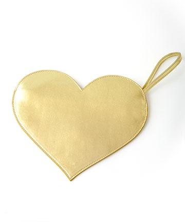 ban.do metallic heart clutch