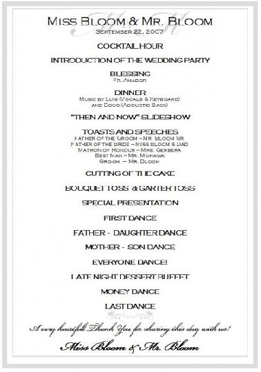 wedding reception program emcee script | wedding | Pinterest