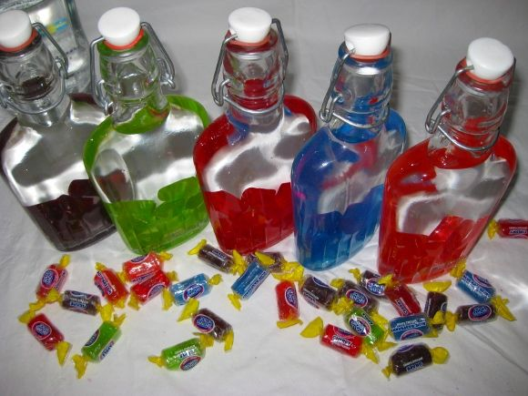 Much more clever than the Skittles vodka... Jolly Ranchers completely dissolve and don't need to be strained out!