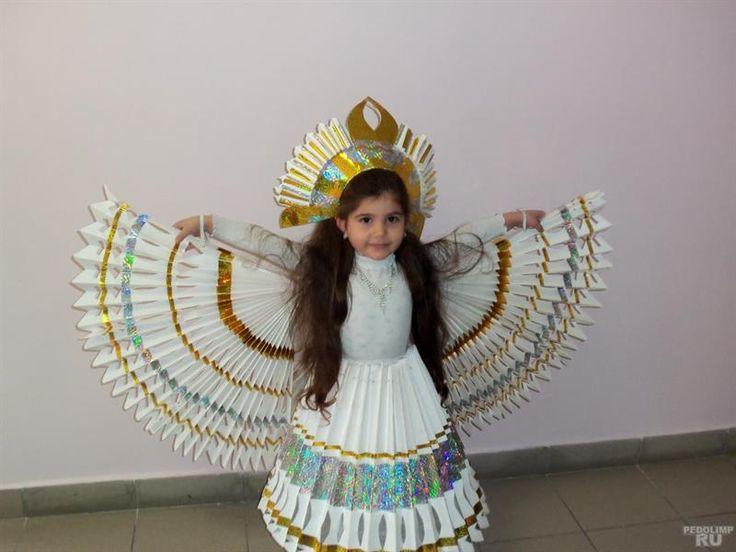 Костюм птицы для ребенка из бумаги