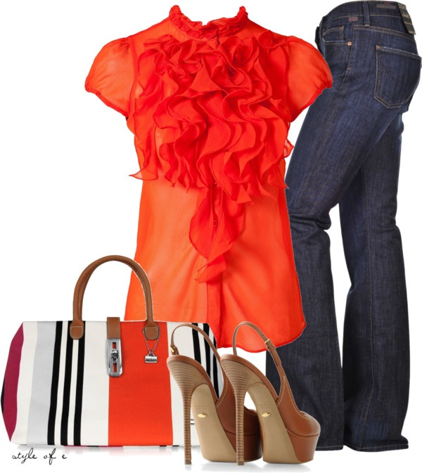 """Orange Ruffles"" by styleofe on Polyvore"