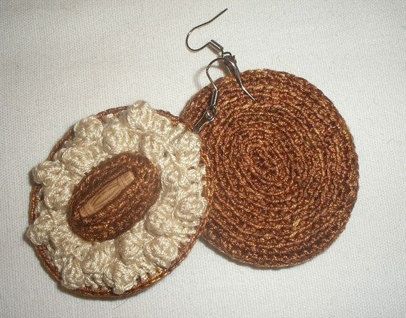 Crochet Stitch Oval : Crochet Earrings Popcorn Stitch Oval Shape Ecru by vanessahandmade, $ ...