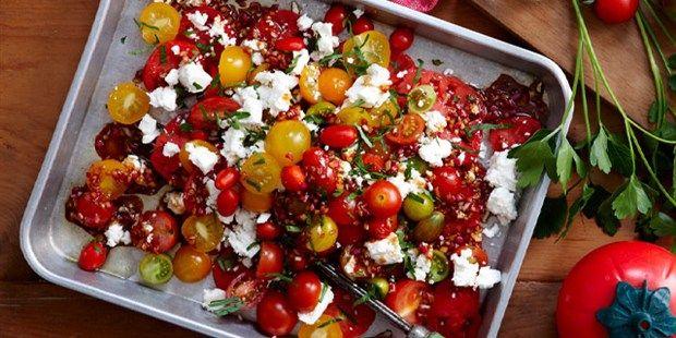 Mixed tomato salad with pomegranate dressing
