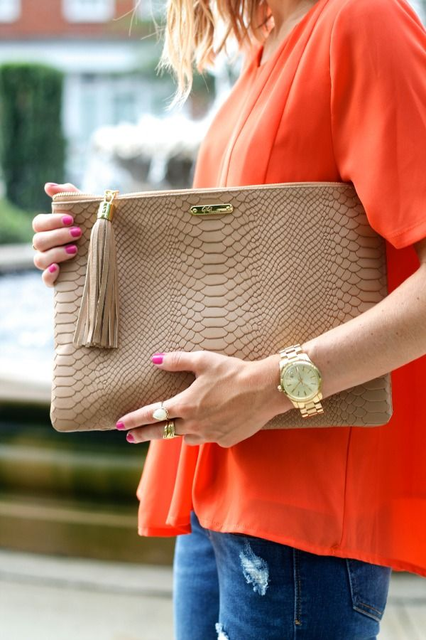 GiGi New York Uber Embossed Python Clutch in Stone with initials