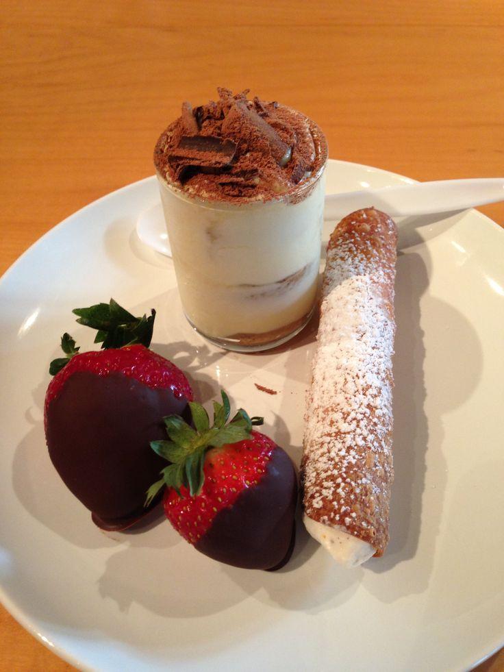 All things chocolate- Mini tiramisu, cannoli with ricotta, chocolate ...
