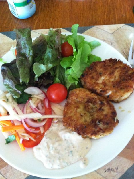 Hearts of Palm crab cakes, with remoulade sauce, and jicima salad ...