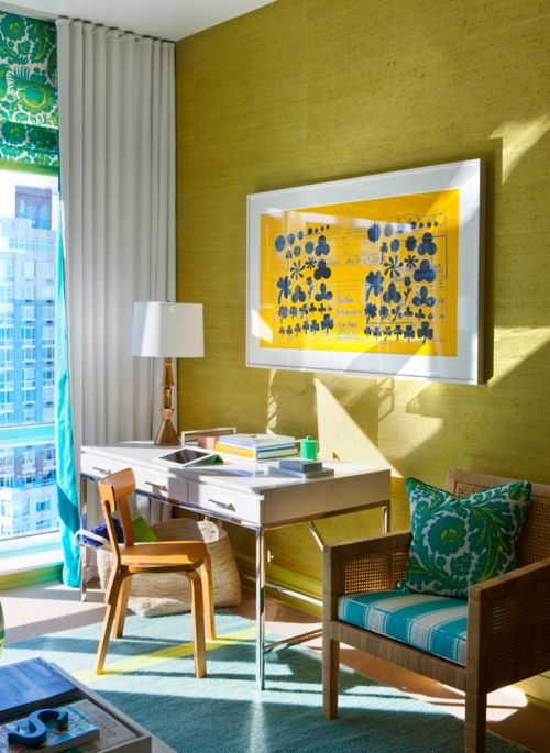 gorgeous white desk + chartreuse grasscloth walls + pretty yellow art + pops of turquoise