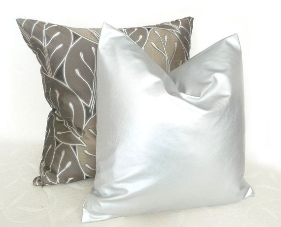 Silver Pillow, Decorative Throw Pillow, Contemporary, Modern, Accent