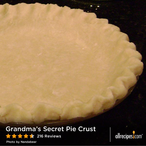 "Grandma's Secret Pie Crust | ""The secret's out! A great basic pi..."