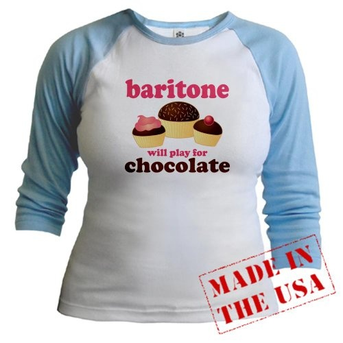 Funny Baritone Raglan Cafepress Baby Blue White