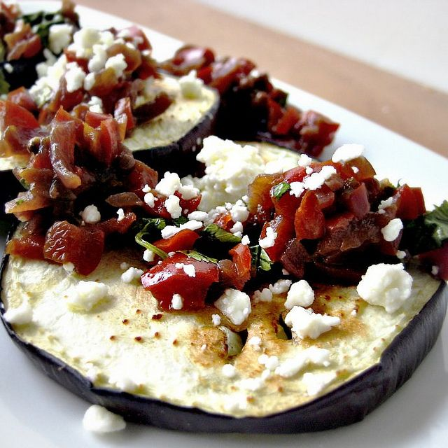 "Eggplant ""Crostini"" with Symon's Red Pepper Relish and Feta"