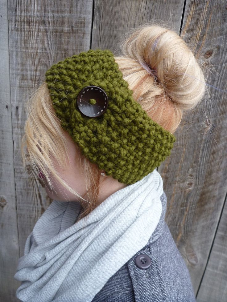 Knit Headband - Ear Warmer - In Charcoal with button ...