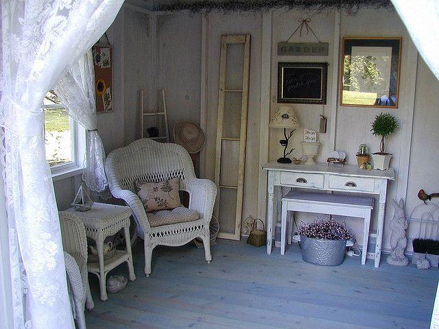 Inside garden shed ideally home pinterest for Garden sheds interior designs