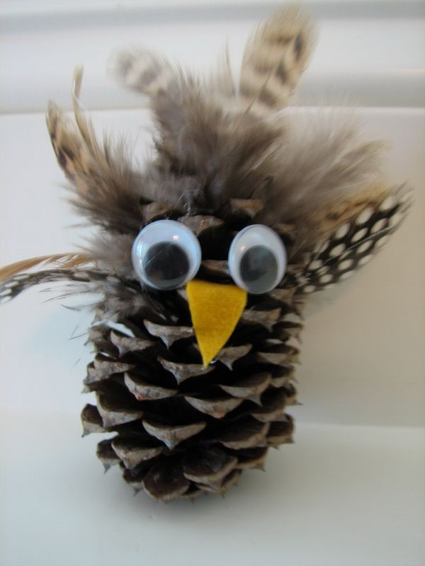 Pine cone owl craft 4th grade ideas pinterest for Crafts made with pine cones for christmas