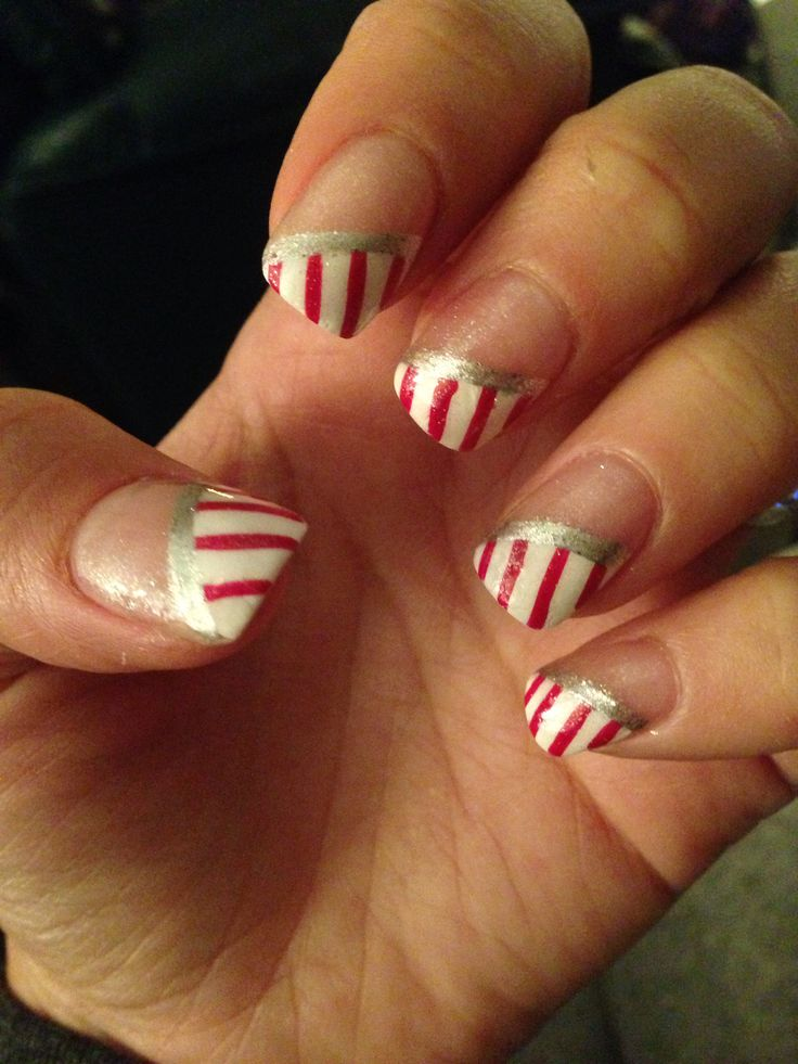 Candy cane french manicure Christmas nails