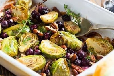 foodgasms recipes: Roasted Brussels Sprouts With Grapes and Walnuts