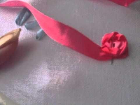 Ютуб вышивка лентами бутон розы мастер класс 37