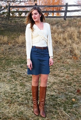 denim skirt with boots and cardigan boots legging