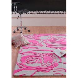 Handmade & Hand-carved Alexa Prive Fuchsia Rose Wool Rug (7'6 x 9'6)-   So feminine !