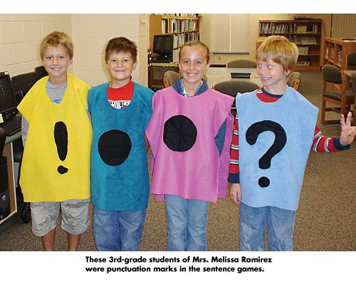 Could be fun to put on big grown-up t-shirt and use for a whole group puncutation lesson. good for kinesthetic learners