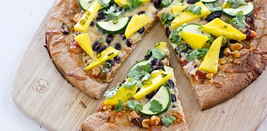 Spicy Mango Pizza with Black Beans & Zucchini