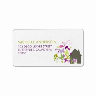 Butterflies amp deco leaves new home address labels by fatfatin