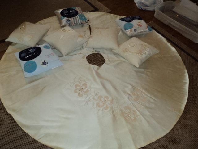 Heirloom wedding dress christmas tree skirts and pillows 225 00 via