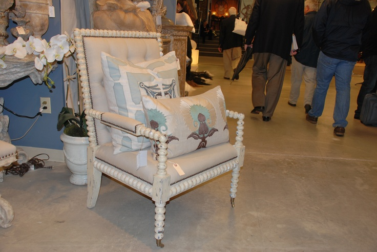 Love this chair by Bliss Studio!  Love the padded arms, distressed look and detail! TheHome.com #hpmkt