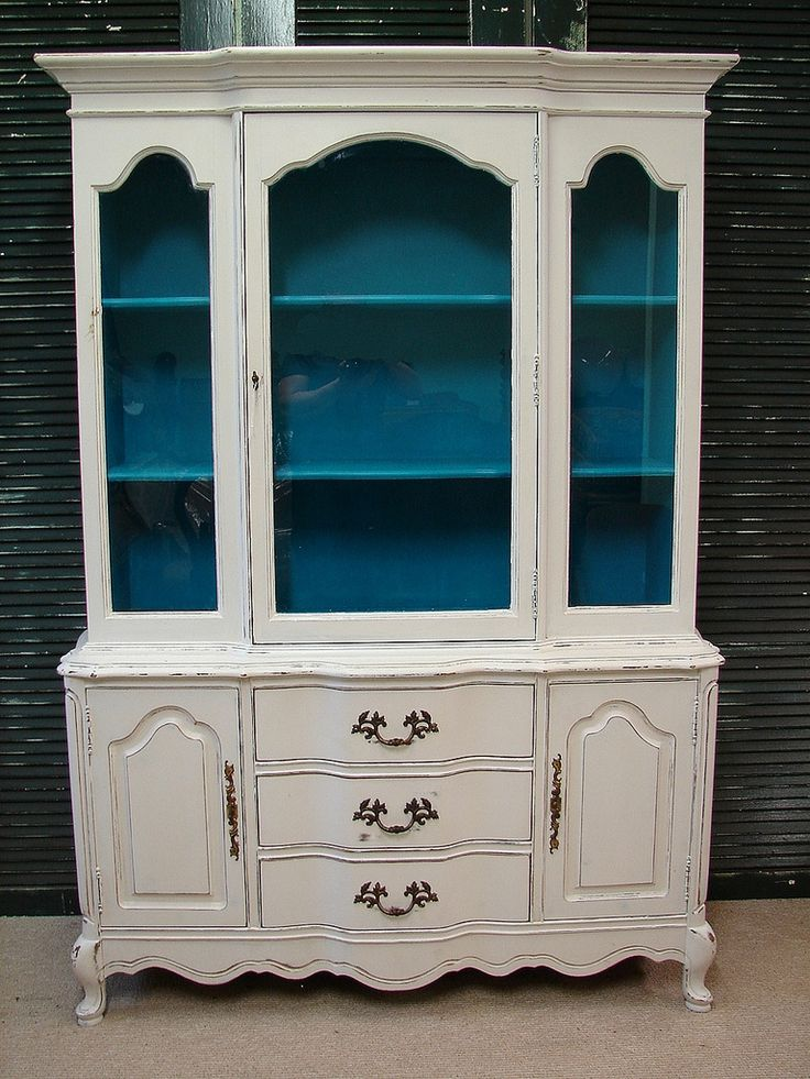 Bassett White Turquoise Heavy Distressed China Cabinet (MLD)Call for