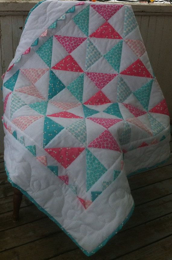 Crib Quilt Blanket Baby Girl Hand Quilted Aqua and Pink Pinwheel with?