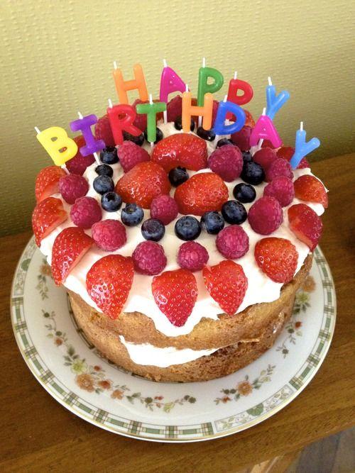 Fresh Cream and Fruit Birthday Cake  Happy Birthday !!!  Pinterest