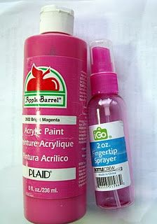 Spray Ink. Mix 2 parts acrylic paint to 1 part water and shake to mix.