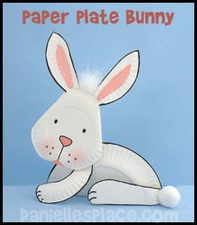 Bunny Paper Plate Craft www.daniellesplace.com