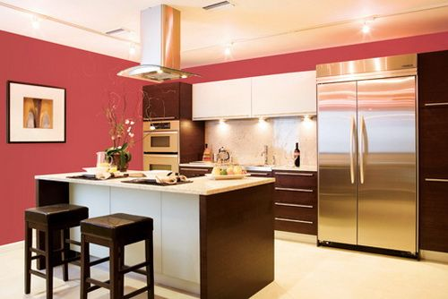 red walls kitchen white cabinets  Kitchen Cabinets  Pinterest