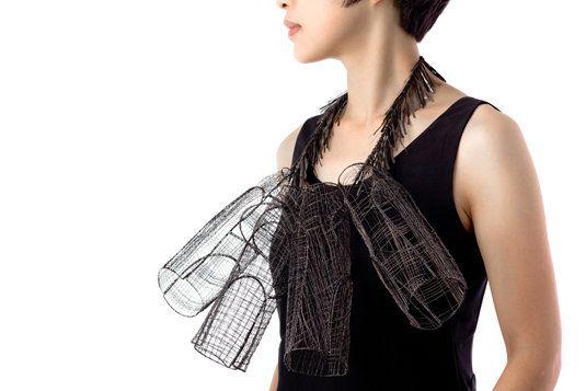 heejin hwang - tactile-sensations 2012 - Sensuality II - Steel wire Necklace -  http://nykyinen.com/heejin-hwang-tactile-sensations/