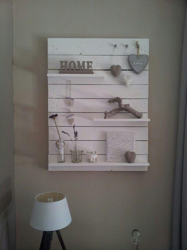 Pallet muurdecoratie  Steigerhout & creatief met hout  Pinterest