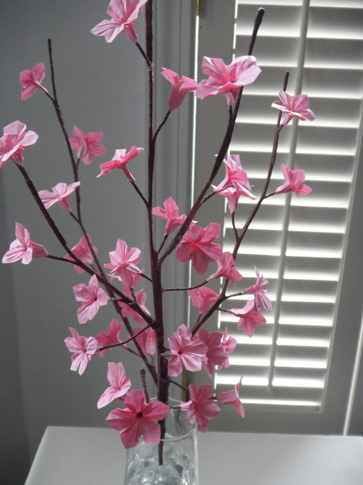 origami paper cherry blossoms pink