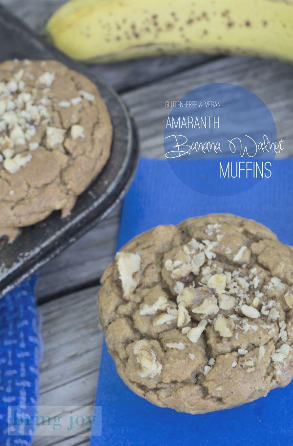Gluten Free Amaranth Banana Walnut Muffins from Bring Joy