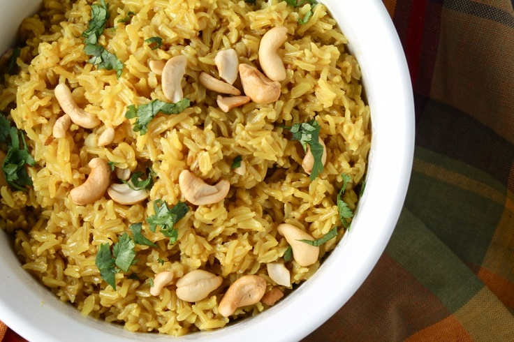 Curried Cashew Rice & Spicy Chickpeas and Potatoes
