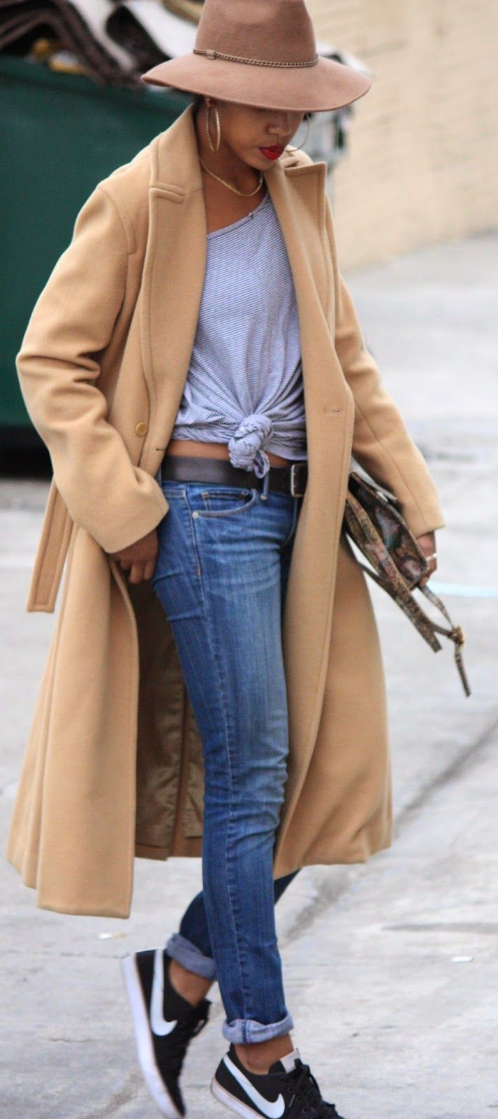 Camel Trench + Red Lips.