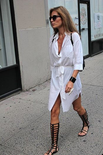 gladiator sandals + shirt dress