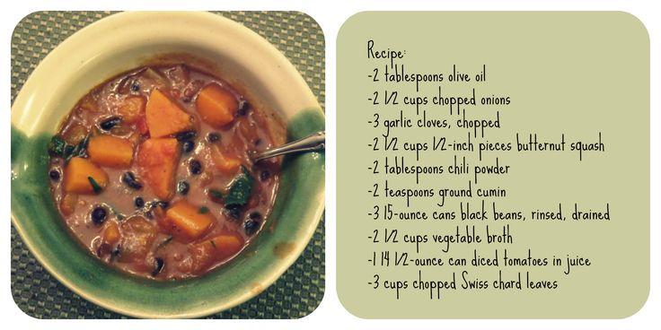 Vegan Recipe: Black Bean Chili with Butternut Squash and Swiss Chard