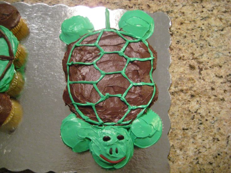Pull-Apart Turtle Cupcake Birthday Cake -- like the idea of using ...