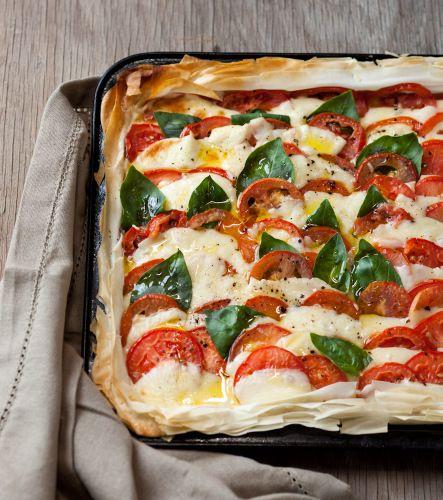 Hot Caprese Tart on Phyllo Pastry | Pinterest Dinner Party | Pinterest