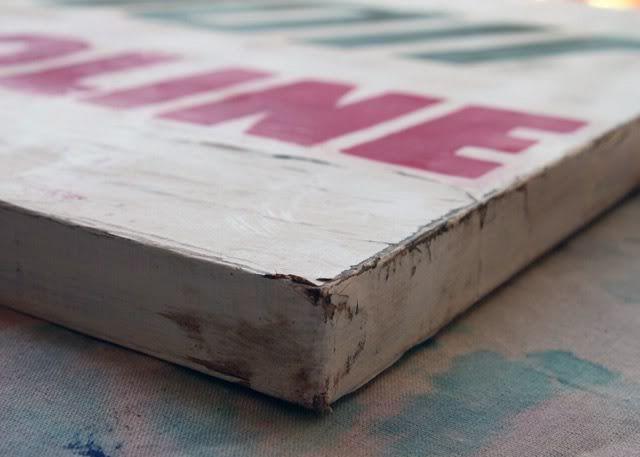 Make a vintage sign on canvas...