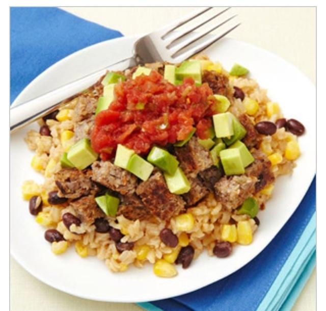 Vegie burger, rice and beans | Vegies, Lentils & Grains! | Pinterest