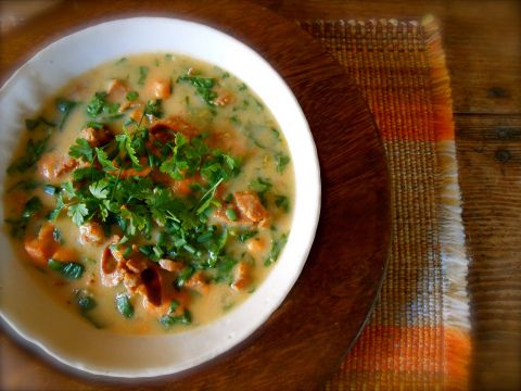 spicy sausage, yam and spinach soup | Recipe - SOUPS | Pinterest