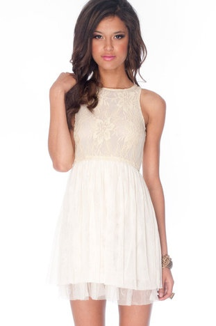 Tulle Cute Laced Dress in Ivory $22 at www.tobi.com