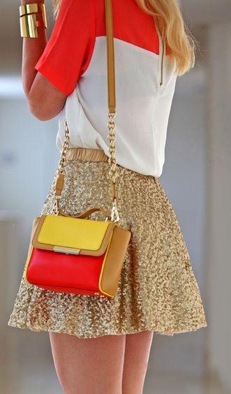 glittering mini skirt with tee and handbag